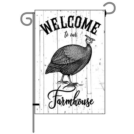 Farm flag. Welcome to our farmhouse. Poultry guinea fowl. Wood texture background. Farm bird. Black and white graphics. Vector illustration. Vintage.