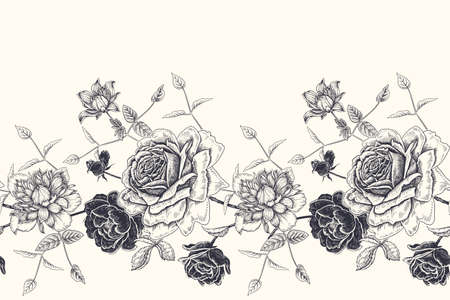 Floral border. Black and white floral seamless pattern. Beautiful blooming flowers roses clematis. Vector illustration. Hand drawing. Vintage. Decorative background for paper, wallpaper, textile.