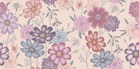 Seamless colorful spring floral pattern. Flowering plants. Vintage vector. Cute garden flowers. Victorian style. Luxurious summer textiles, paper, wallpaper decoration. Ornamental cover. Pastel color