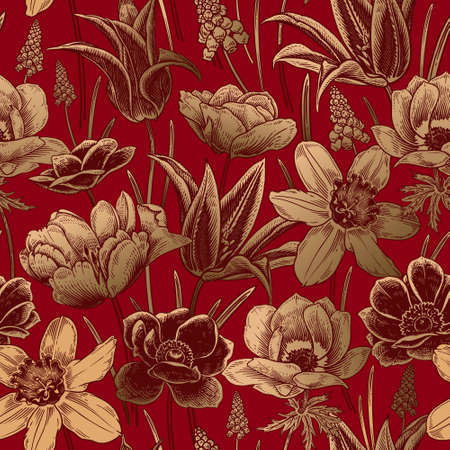 Floral seamless pattern. Vintage spring background. Vector illustration art. Lovely flowers. Red and gold foil. Botanical ornament. Tulips daffodils anemones primroses. For wallpaper, paper, textiles.