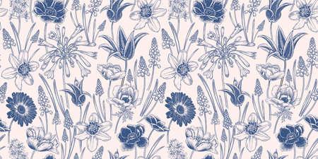 Floral seamless pattern. Vintage spring background. Vector illustration art. Lovely flowers. Blue white cover. Botanical ornament. Tulips daffodils anemones primroses. For wallpaper, paper, textiles. Vetores