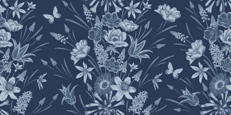 Floral seamless pattern. Vintage spring background. Vector illustration. Lovely flowers and butterfly. Navy blue color. Bulbous primroses, snowdrops, tulips, anemone, daffodils, muscari, jacinth.