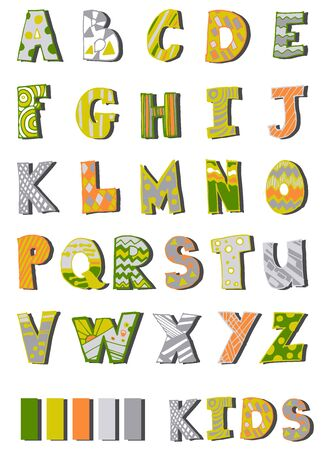 alphabet printed letters for children by hand made in 5 colors  イラスト・ベクター素材