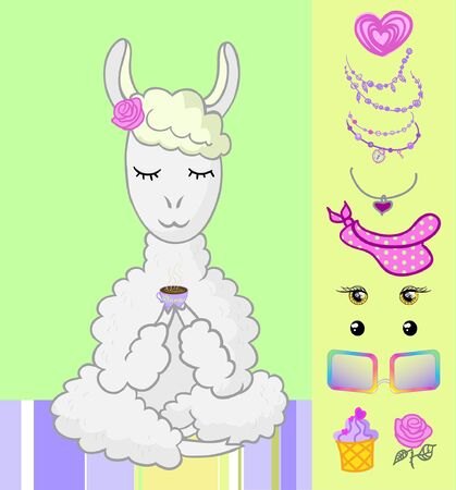 llama and accessories vector. the lama drinks coffee in the lotus position, the cup can be replaced with one of the accessories presented, so you can put jewelry, a scarf, glasses, beads on the lama, give a cake in your hand, a flower Illusztráció
