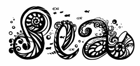 black and white composition. word sea written with stylization elements, fish, shells, seaweed, plastic lines