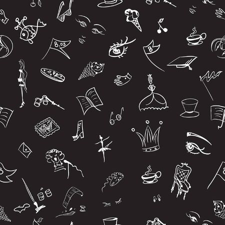 black and white pattern for girls and women, images of different arts. on a seamless pattern, elements of women's everyday life and life, various tools for hobbies and objects from the theater, gallery and children's fairy tales for girls are drawn by hand.