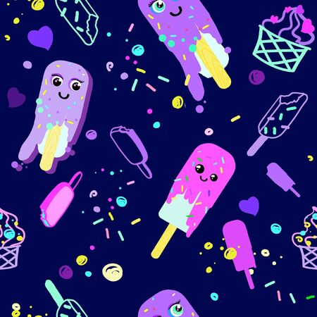 seamless pattern on a dark blue background from bright food: ice cream, cake, sweets. funny faces and smiles on ice cream and cake. everyone was a little tired and melted. there are elements of hearts and glaze.