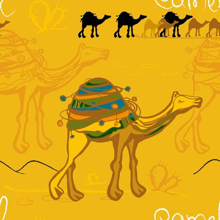 camel and caravan in the desert pattern