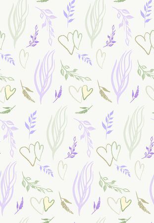 seamless pattern with sprigs and hearts pastel