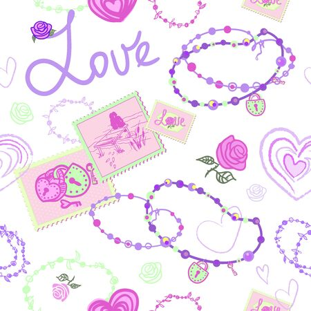 SEAMLESS PATTERN WITH HEARTS AND MARKS AND JEWELRY FOR GIRLS. the stamps depict a couple on the bridge, a lock in the form of a heart and keys, roses and the inscription love. a story for girls