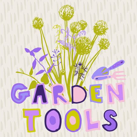 the inscription gardening tools are handwritten in colored letters, the label for your ideas on the background of silhouetted grasses and ornamental onions