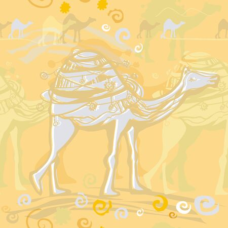 The pattern depicts a desert, a caravan and a camel on a golden background