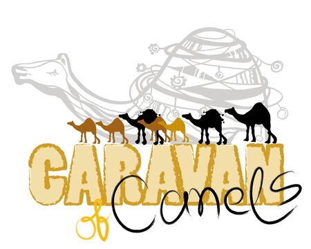 TEXT CARAVAN OF CAMELS Vektoros illusztráció