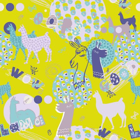 seamless pattern with llamas in pink and green colors. fun design for girl
