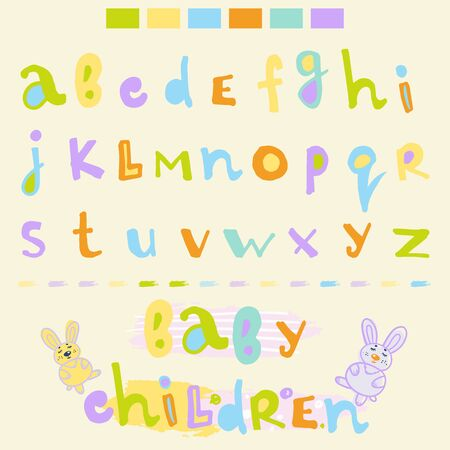 colorful funny letters for children's fonts are drawn by hand