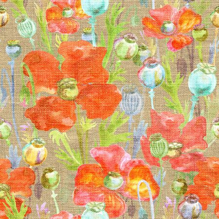 watercolor seamless pattern with poppy flowers and poppy heads of different colors  on canvas