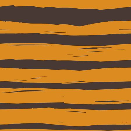 seamless striped pattern in tiger coloring is drawn by hand with rough lines 矢量图像