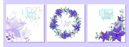 set with purple flowers wreath pattern and postcards. the composition includes postcards with a wreath, a seamless pattern, with graphic and multi-colored flowers. all in lilac and purple shades with turquoise inserts hearts.