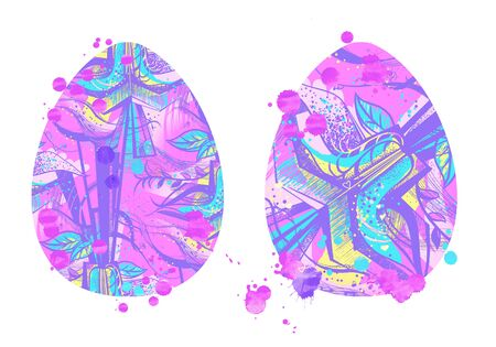 two EASTER eggs with patterns of STYLIZED ornamental FLOWERS and watercolor drops