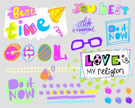 Doodle style stickers with the words cool, you are the best. do it now, best time, love is my religion Ilustração