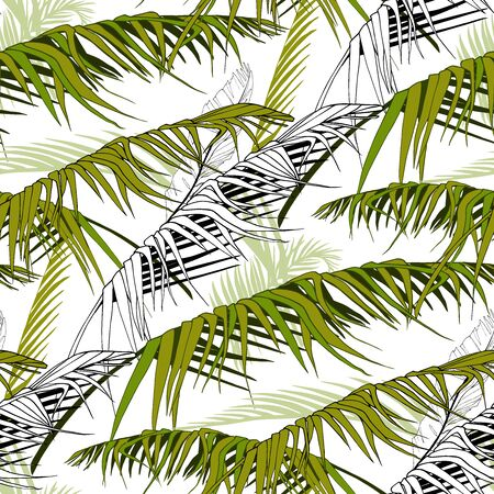 a seamless pattern of disheveled tropical palm leaves in black white and green Ilustração