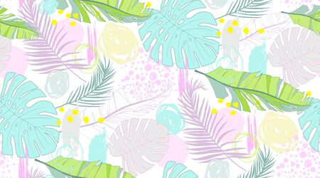 Pattern with tropical leaves and scrawl  in DELICATE PASTEL COLORS Ilustração