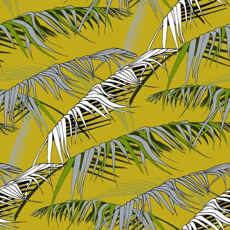 plant pattern with leaves of tropical trees in a stylized form, white, green and gray shades with black and white elements