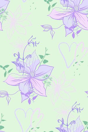 delicate pattern with lilac flowers and hearts drawn by hand on a light green background