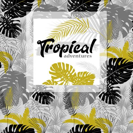 poster with tropical leaves in monochrome shades against a seamless pattern