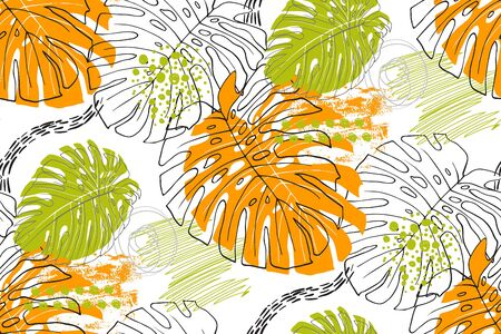 seamless pattern with tropical orange and green leaves on a white background in the style of freehand and scribble