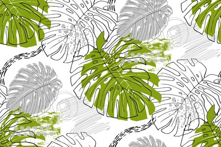 seamless tropical pattern in the style of Doodle with monstera leaves Ilustração