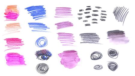 a set of black, pink and blue strokes, circles and spots drawn with watercolor pencils isolated on a white background.the elements for the equipment of naive painting