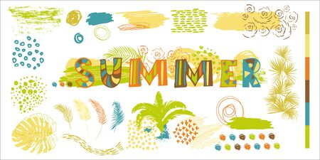 lettering summer for prints and a set of elements of tropical leaves