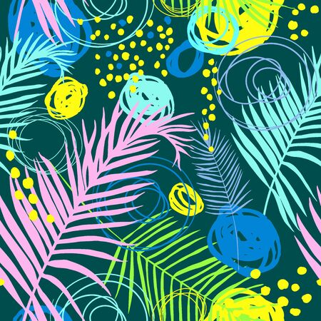 Pattern with tropical leaves and scrawl