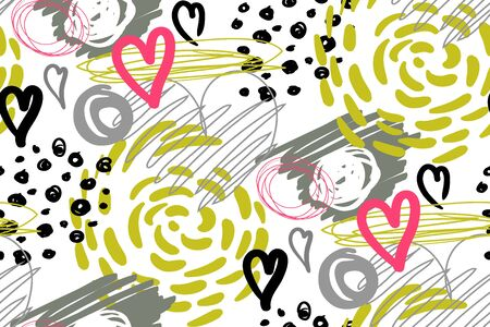 pattern with hearts for children is design of surfaces and fabrics Stock Illustratie