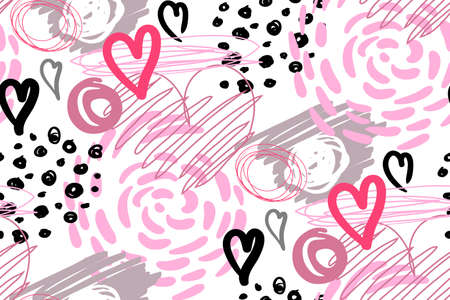 modern seamless pattern with hearts for the design of surfaces