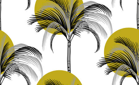 sun and palm tropical pattern on white background with silhouettes of gray palms