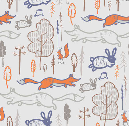 gray forest animal pattern for kids jacket and surface designs