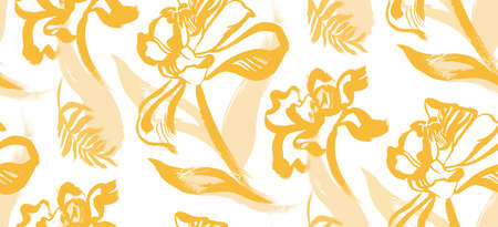seamless pattern with yellow tulips on a white background