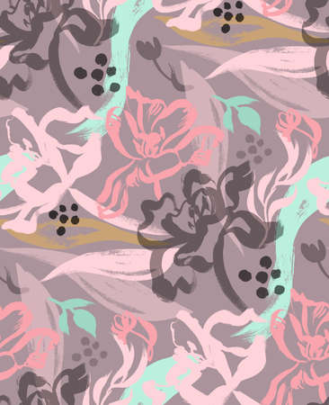 brown flower seamless pattern with tulips painted with brush