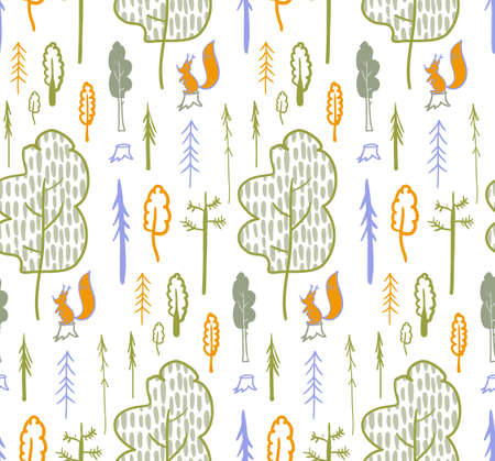children is modern Scandi pattern with forest and squirrels on a white background 向量圖像