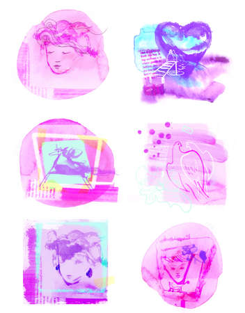 set of cute pink watercolor modern greeting cards for women and girls Фото со стока