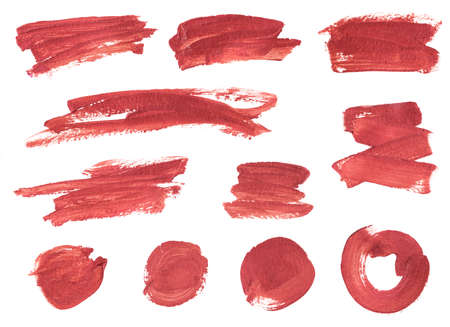 set of brush trace from bronze paint or lipstick circles