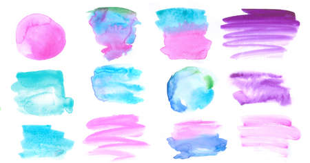 set of watercolor brush strokes pink turquoise for social media