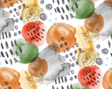 watercolor fashion pattern for fabric painted with paint and pencil