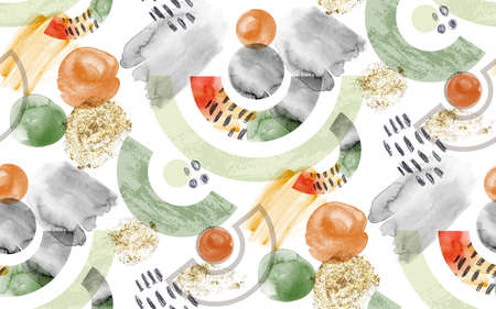 watercolor fashion pattern with geometric circles for fabric drawn