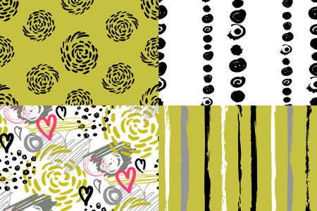 set of four horizontal seamless patterns with non-uniform vertical lines and non-regular circles drawn 向量圖像