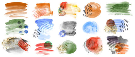 set of watercolor strokes of multicolored blanks drawn with paints