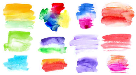 Watercolor multicolored brush strokes spots for design and paints