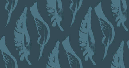 seamless dark blue pattern with tropical palm leaves